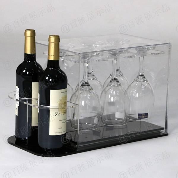 紅酒及杯子套裝亞加力膠架-擺放效果