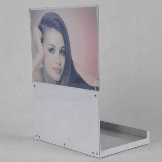 迷人香水L型拉絲銀展示膠架-背面