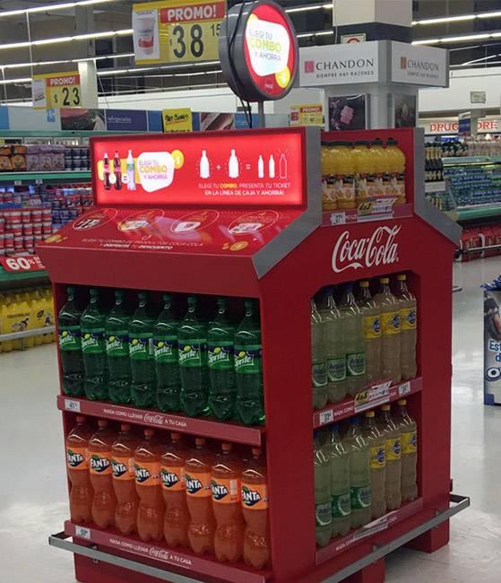 可口可樂帶燈箱式四面展示木櫃