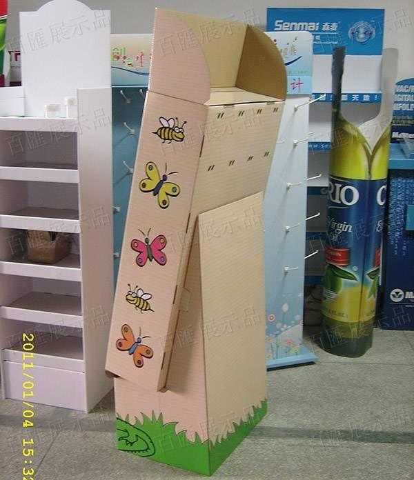 塑膠掛鉤瓦楞紙展示架-右側