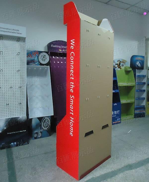 落地靠牆掛鉤紙製陳列架-背面