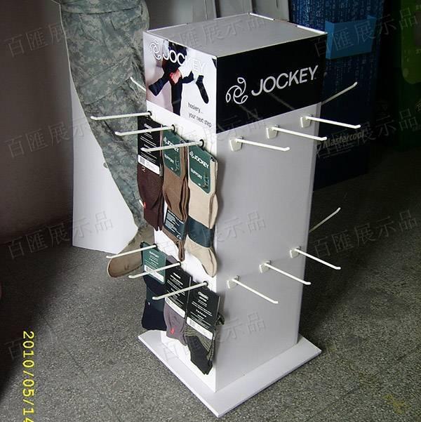 四面掛鉤式襪子紙製展示架-側面