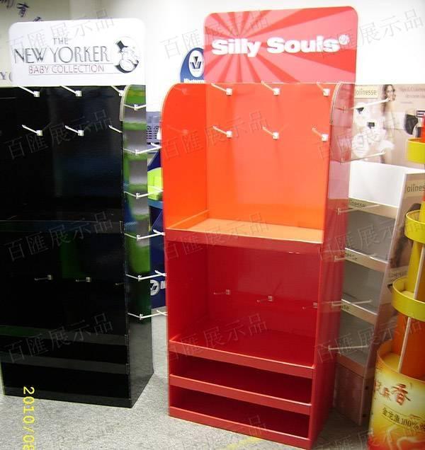 塑膠掛鉤紅色紙質展示架-側面