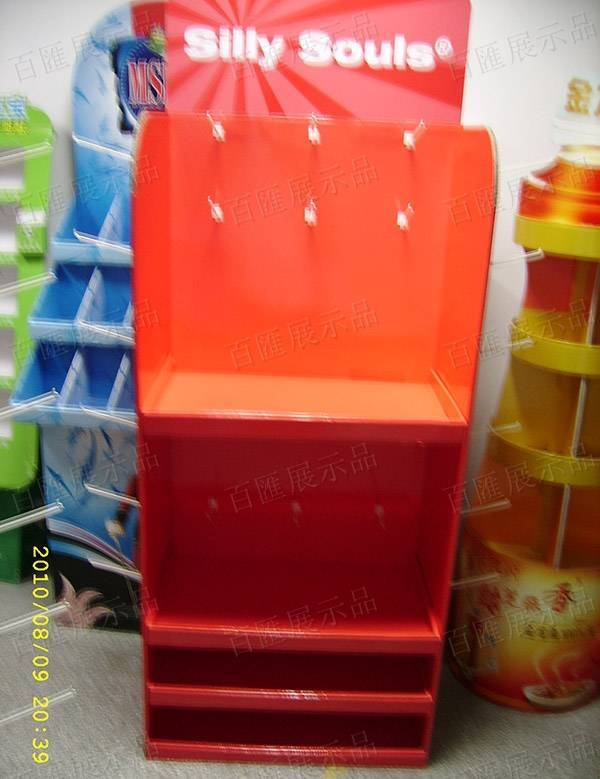 塑膠掛鉤紅色紙質展示架-正面