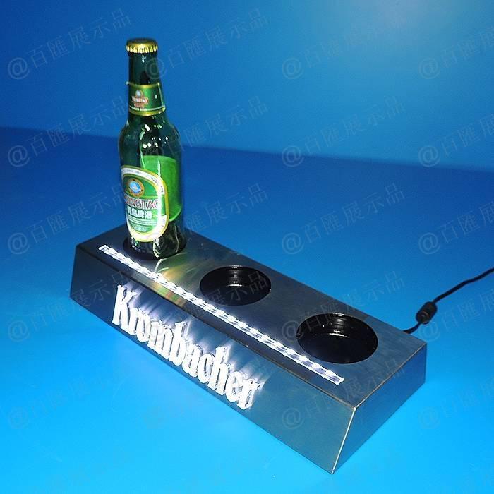 三孔位啤酒發光突出LOGO亞加力膠座