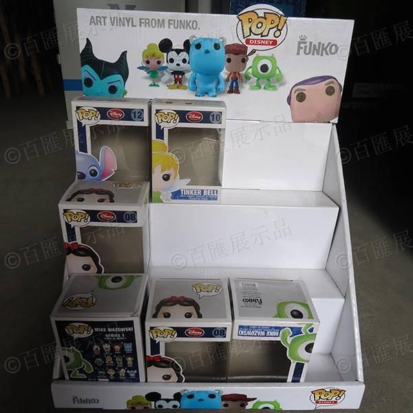 公仔玩具三層桌面瓦楞紙陳列盒-正面