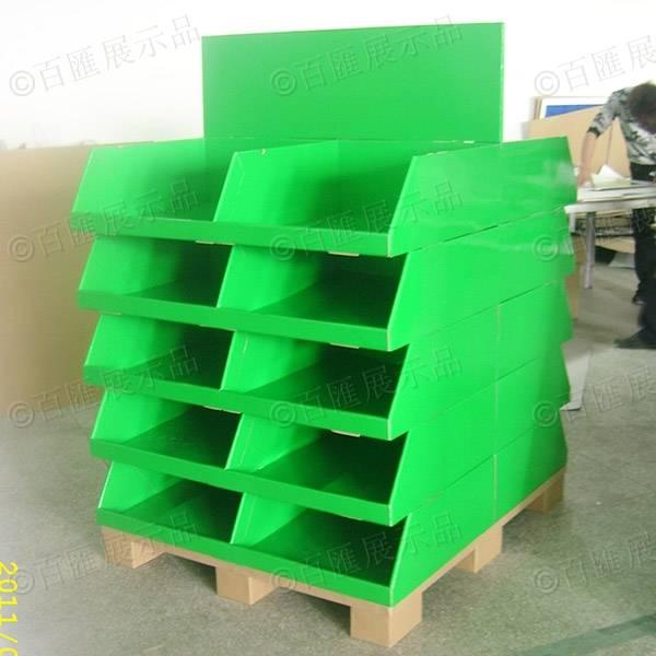 雙面擺放產品綠色紙製陳列架-左側
