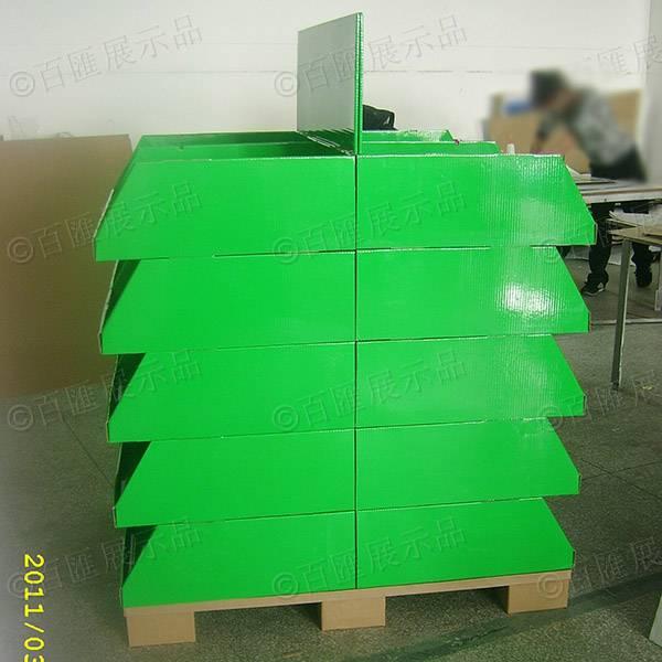雙面擺放產品綠色紙製陳列架(含卡板)